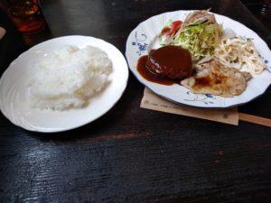 角の茶食館プリンス ハンバーグと生姜焼き
