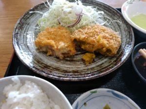 大川昇開橋温泉 コロッケ定食 かぼちゃ、やさい