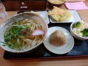 大木戸うどん ポテサラセットと天ぷら