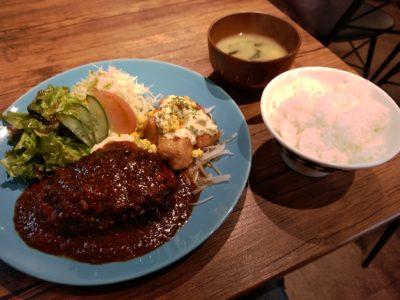 マカロニキッチン ハンバーグ&チキン南蛮 ご飯 味噌汁